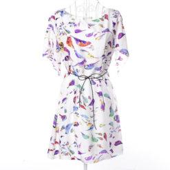 Europe America 2017 summer dresses dress print chiffon new large size bat sleeve dress send belt clothing vestidos4