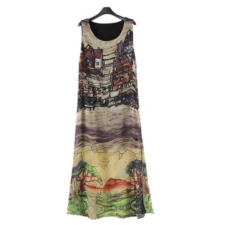 Europe US Vest Dress Large Size women's Thin Long Vestido hand-painted Landscape Sleeveless Dresses Clothing Vestidos