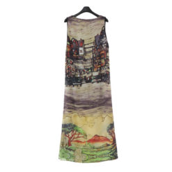 Europe US Vest Dress Large Size women's Thin Long Vestido hand-painted Landscape Sleeveless Dresses Clothing Vestidos2