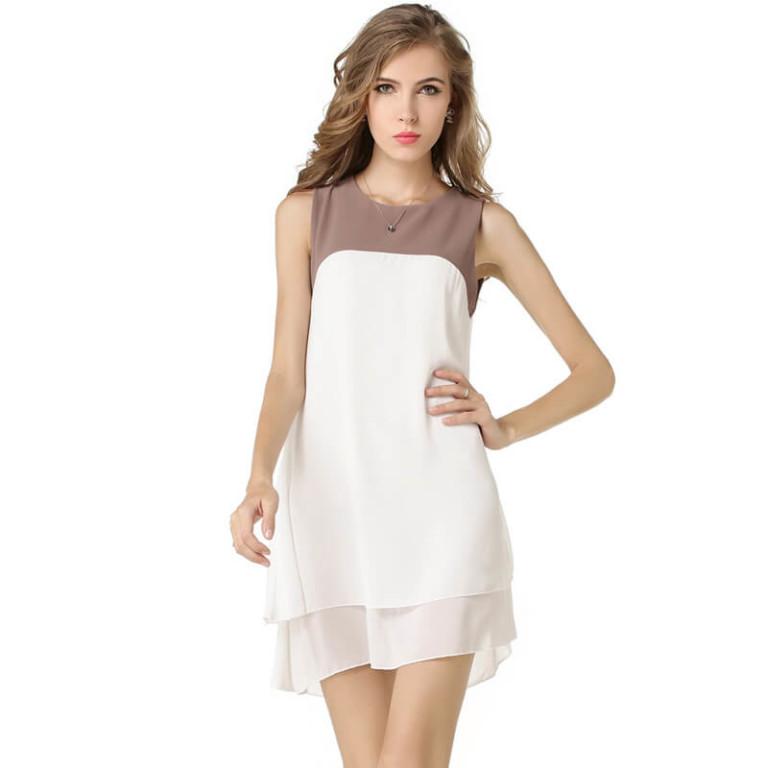Europe ladies dress sleeveless spell bilayer plus size chiffon color vestido irregular dresses vestidos