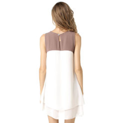 Europe ladies dress sleeveless spell bilayer plus size chiffon color vestido irregular dresses vestidos2
