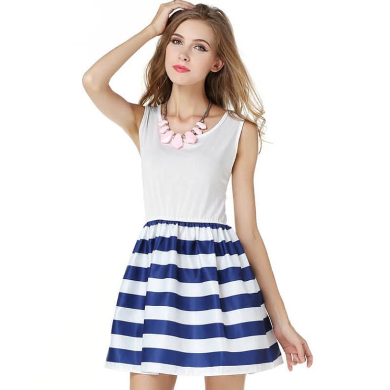 European America women summer dresses new navy sailor slim vest vestido striped cotton strap dress burst models vestidos