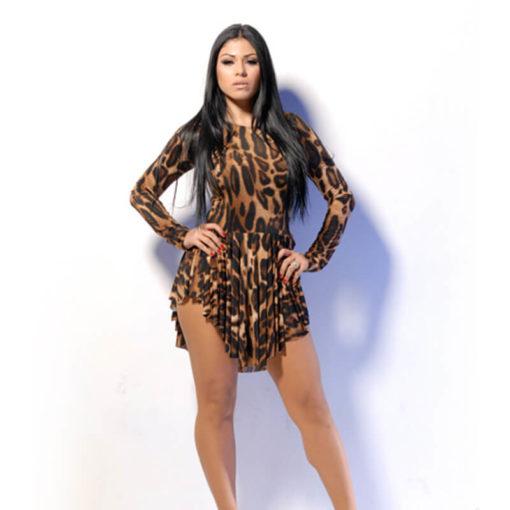 European American Short Dress Nightclub Sexy long-sleeved Vestido Leopard Bandage Mini Dresses Clothing Vestidos