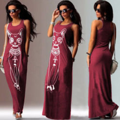 Fast sell through the fall of the cat, the cat Print Long Dress
