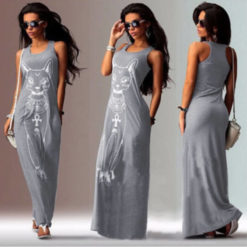 Fast sell through the fall of the cat, the cat Print Long Dress2