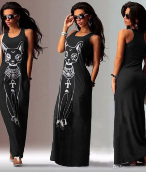 Fast sell through the fall of the cat, the cat Print Long Dress3