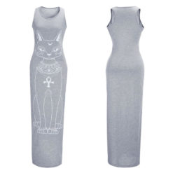 Fast sell through the fall of the cat, the cat Print Long Dress5