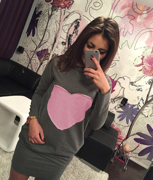 In 2017, autumn new hot explosion models of European and American fashion package hip dress with long sleeves2