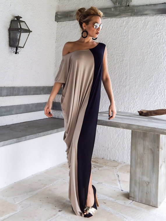 Long Dress money-round loose-fitting Fashion Splicing Dresses Color Stitching Vestido Women Clothing Vestidos
