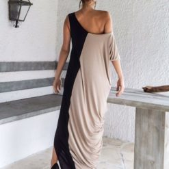 Long Dress money-round loose-fitting Fashion Splicing Dresses Color Stitching Vestido Women Clothing Vestidos2
