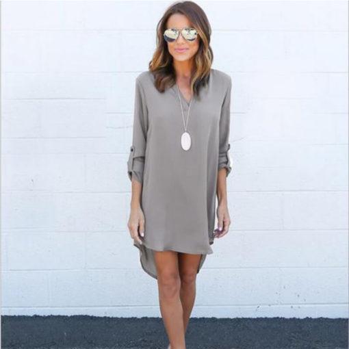 Mini dress 2017 explosion section new vestido plus size V-neck chiffon shirt loose dresses clothing vestidos5