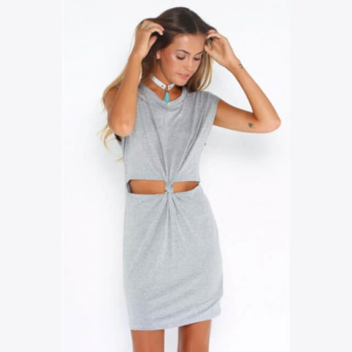 Sexy Dresses 2017 new arrival Fashion O neck sleeveless solid gray color hollow out waist plus size mini women dresses