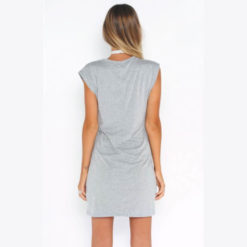 Sexy Dresses 2017 new arrival Fashion O neck sleeveless solid gray color hollow out waist plus size mini women dresses2