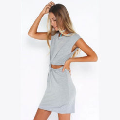 Sexy Dresses 2017 new arrival Fashion O neck sleeveless solid gray color hollow out waist plus size mini women dresses3
