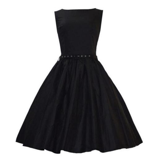 Spot retro color burst waist big swing waist dress to send
