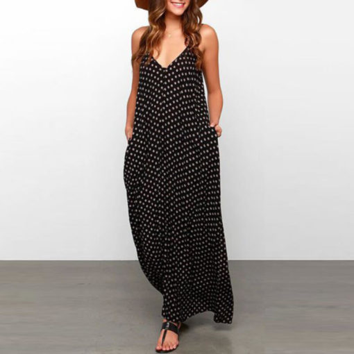 Summer Dress Long Point Sling v-neck Vest Vestido Large Temperament Harness Dresses Sleeveless women's Clothing Vestidos