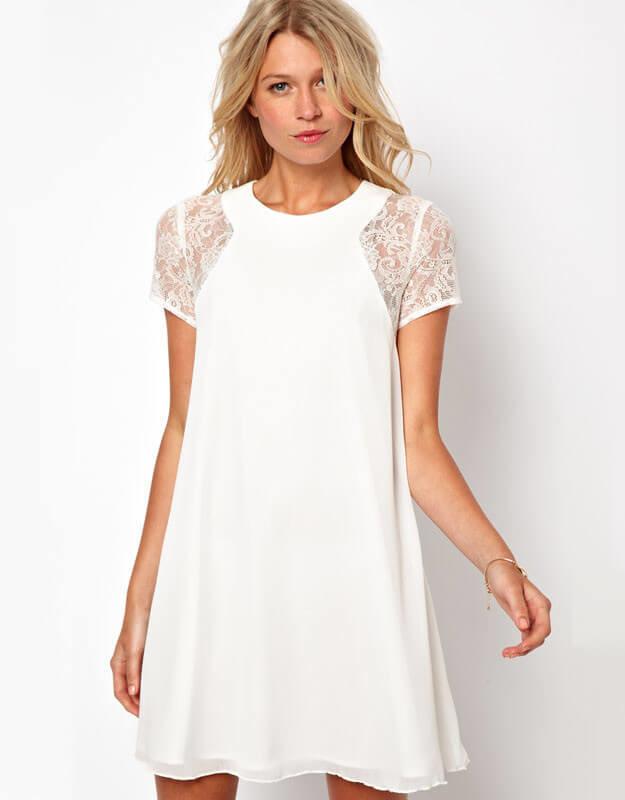 Summer Europe sleeve lace stitching Snow White elegant back slotted three grain bag buckles Chiffon Dress