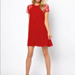 Summer Europe sleeve lace stitching Snow White elegant back slotted three grain bag buckles Chiffon Dress3