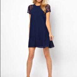 Summer Europe sleeve lace stitching Snow White elegant back slotted three grain bag buckles Chiffon Dress4