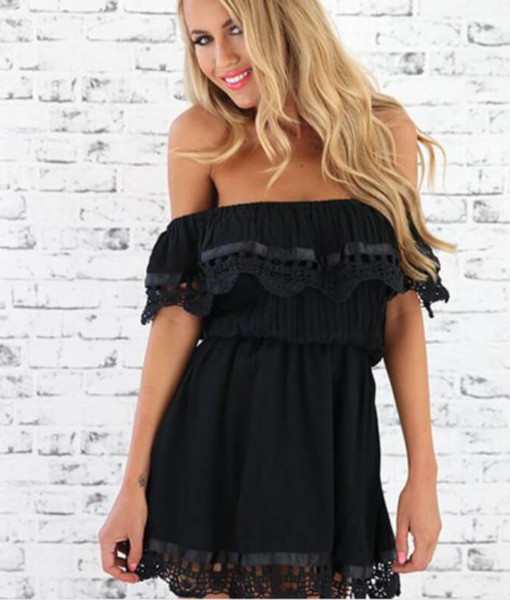 Supply explosion wrapped chest collar shoulder lace short sleeved dress irregular