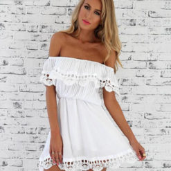 Supply explosion wrapped chest collar shoulder lace short sleeved dress irregular2