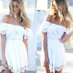 Supply explosion wrapped chest collar shoulder lace short sleeved dress irregular3