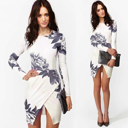 The new foreign trade and the wind printing package hip slim dress