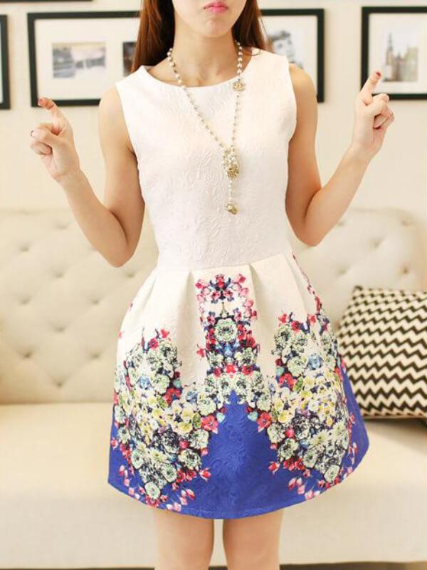 The new spring fashion collar sleeveless vest dress floral print slim primer