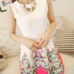 The new spring fashion collar sleeveless vest dress floral print slim primer2
