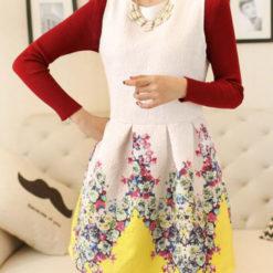 The new spring fashion collar sleeveless vest dress floral print slim primer3