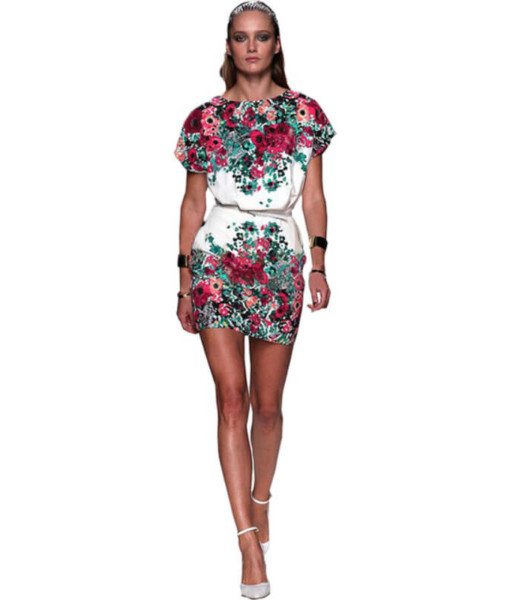 Women 2017 summer print short-sleeve dresses slim hip women's o-neck short dress
