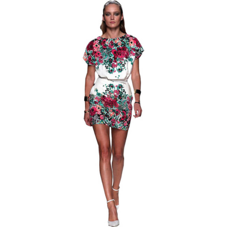 Women 2017 summer print short-sleeve dresses slim hip women's o-neck short dress