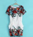 Women 2017 summer print short-sleeve dresses slim hip women's o-neck short dress2