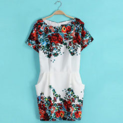 Women 2017 summer print short-sleeve dresses slim hip women's o-neck short dress2