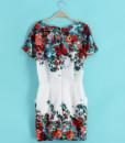 Women 2017 summer print short-sleeve dresses slim hip women's o-neck short dress3