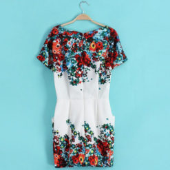 Women 2017 summer print short-sleeve dresses slim hip women's o-neck short dress3