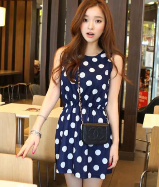 Women Summer dress 2017 new summer style O-Neck Sleeveless Slim Dot Print Chiffon Plus Size 2XL cheap vestidos dresses