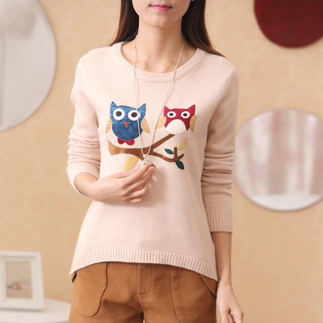 ce14d7ce0 New arrival O-neck full sleeve print double owl Sweaters - Fabtag