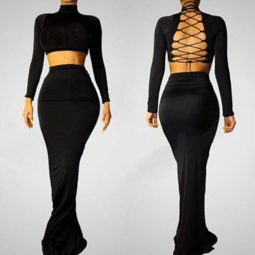 Women dress summer 2017 Turtleneck racerback one-piece mopping the floor full sexy bandage dresses vestidos