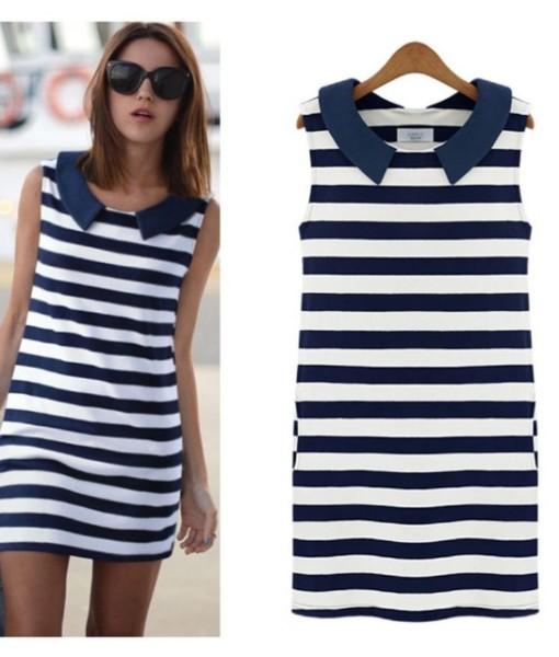 Women summer dress 2017 doll XXXL striped collar sleeveless cultivate leisure plus size dresses vestidos women's clothing