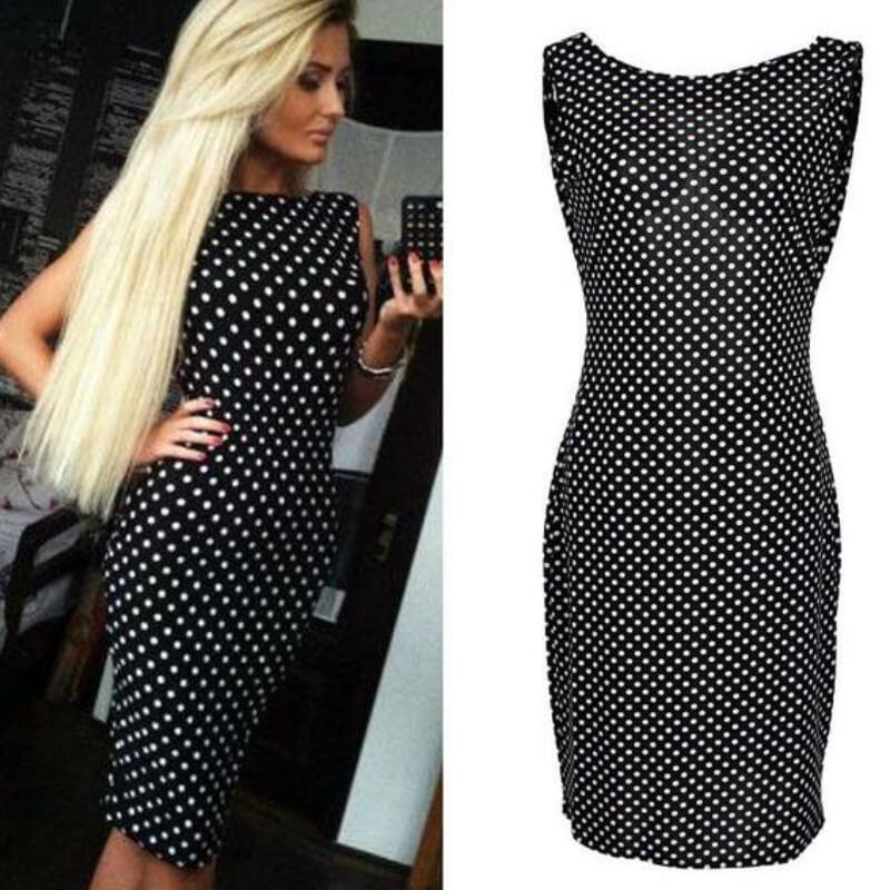 Women summer dress 2017 hot-selling fashion polka dot sexy tight racerback  one-piece 172b098ff