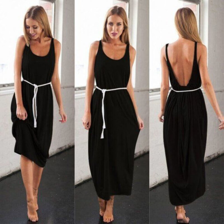 fashion sexy big U collar dress women's clothing backless vest colored loose sand