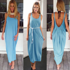 fashion sexy big U collar dress women's clothing backless vest colored loose sand2