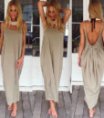 fashion sexy big U collar dress women's clothing backless vest colored loose sand3