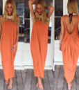 fashion sexy big U collar dress women's clothing backless vest colored loose sand4