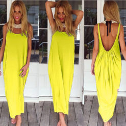 fashion sexy big U collar dress women's clothing backless vest colored loose sand5