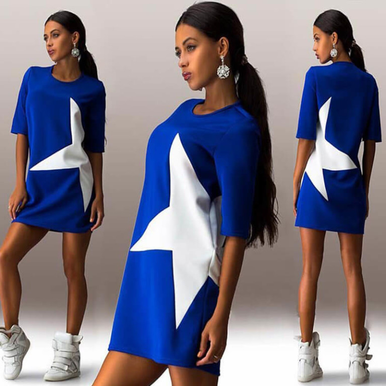 latest explosion models five women stars stamp sleeve dress