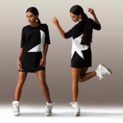 latest explosion models five women stars stamp sleeve dress2