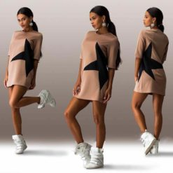 latest explosion models five women stars stamp sleeve dress3