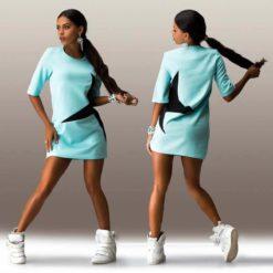 latest explosion models five women stars stamp sleeve dress4